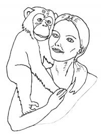 Chimpanzee on the woman's shoulder