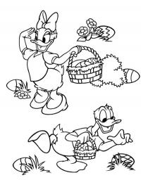 Daisy Duck and donald duck looking for easter eggs