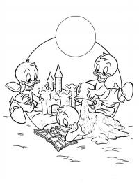 Huey Dewey and Louie make sandcastle