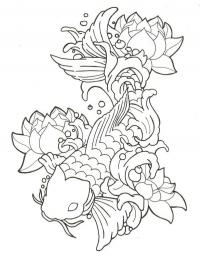 Lotus and Koi Fish Tattoo