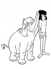 Mowgli and the elephant
