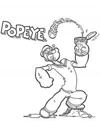 Popeye eat spinage