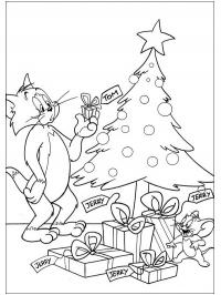 Tom and Jerry at the Christmas tree