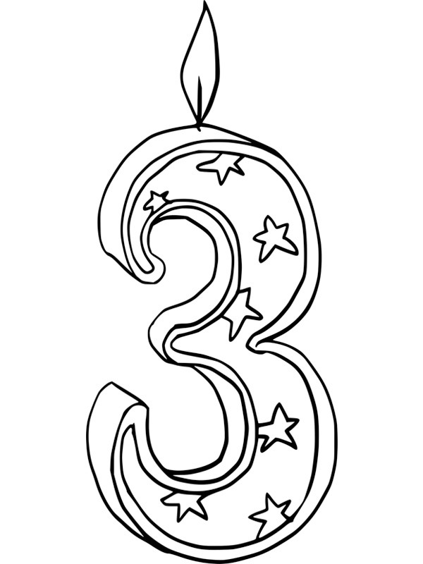 coloring page third birthday