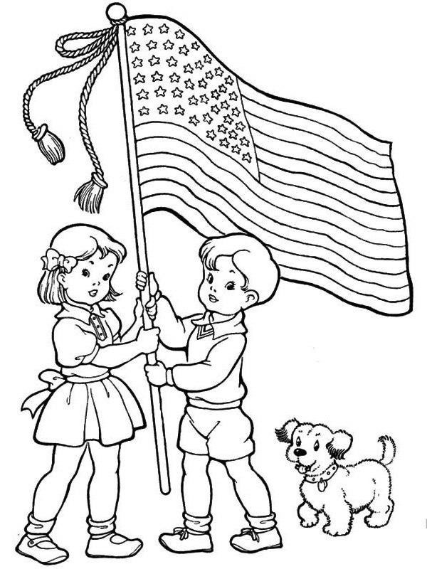 coloring page American flag held by kids