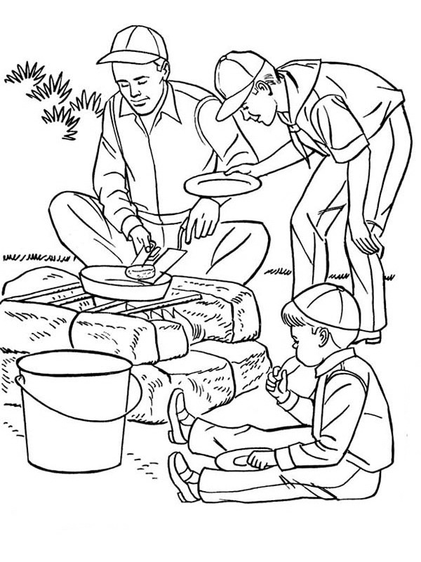 coloring page Baking on the fire