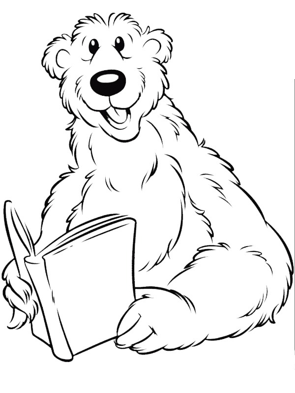 coloring page Bear is reading book