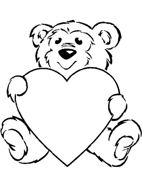 coloring page Bear with heart