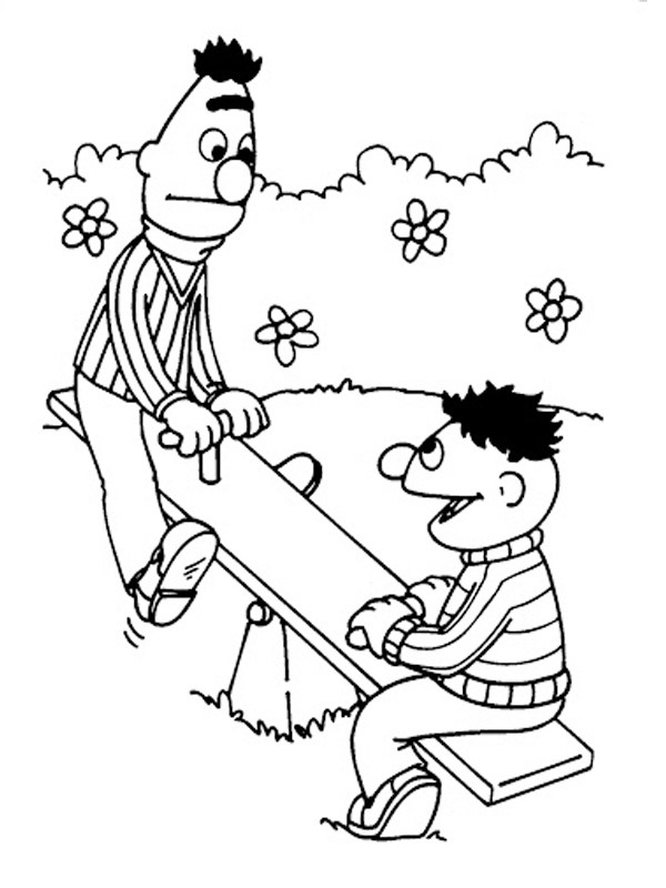 coloring page Bert and Ernie