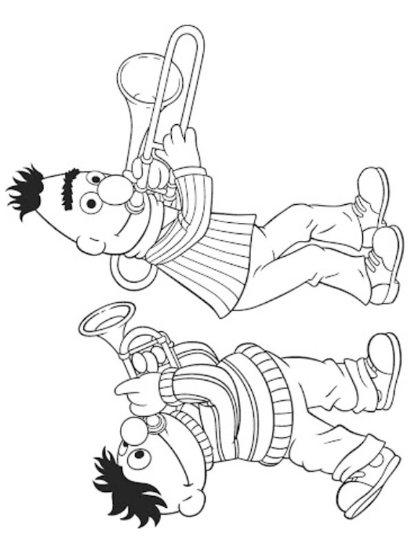coloring page Bert and Ernie play the thrompet