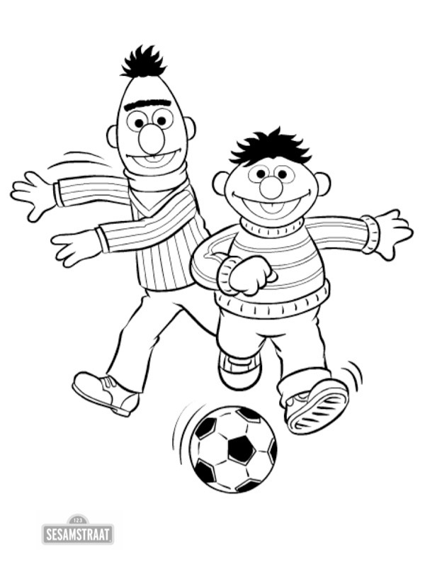 coloring page Bert and Ernie play soccer