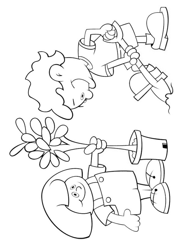 coloring page Putting plants into the ground
