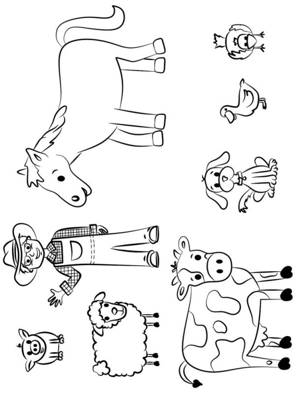 coloring page Farmer and his animals