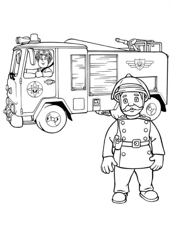 coloring page Fireman Sam and Station Officer Steele