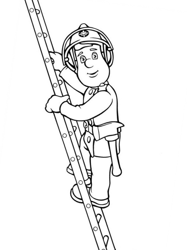 coloring page Fireman Sam climbing the ladder