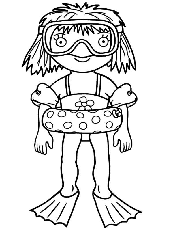 coloring page the little princess is going to swim