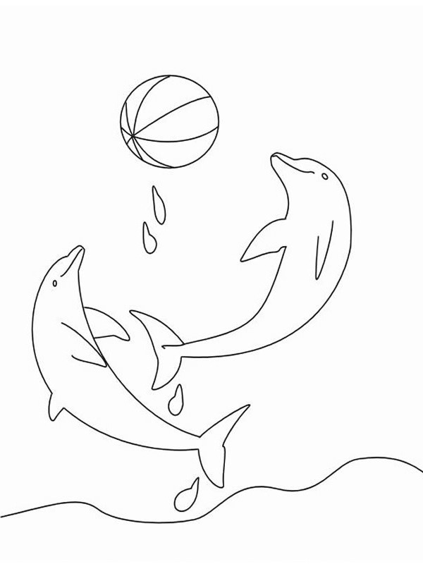 coloring page dolphines playing with a ball