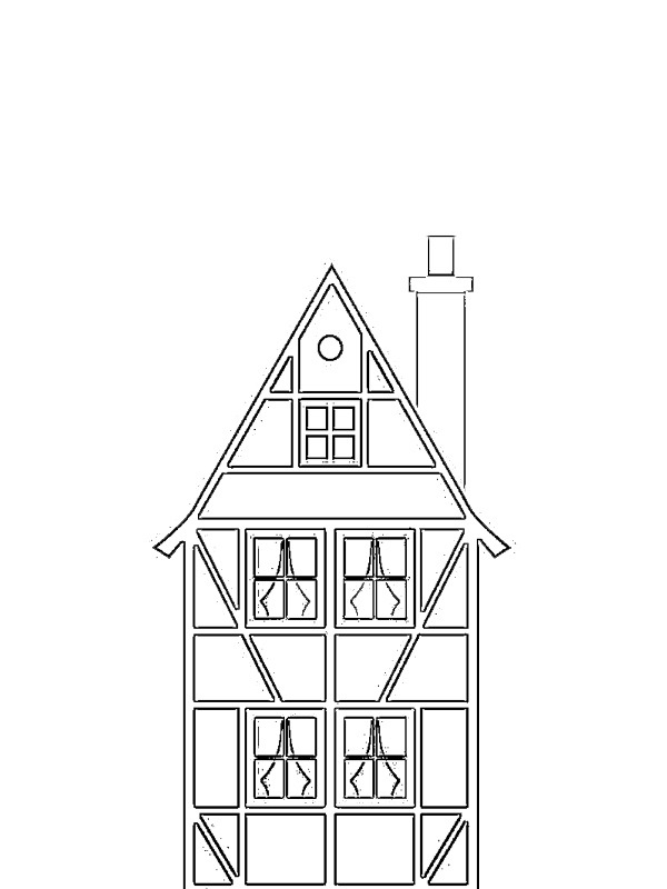 coloring page German style house