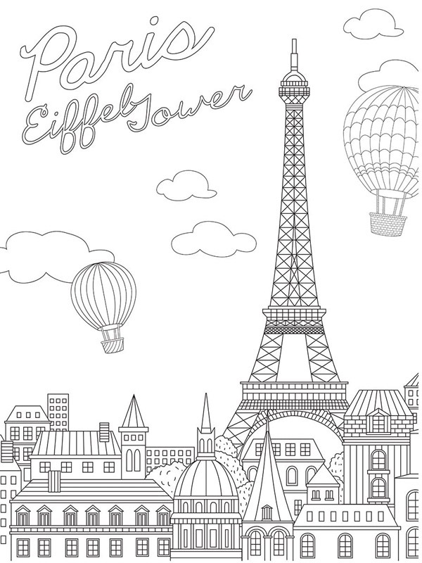Eiffel Tower Coloring Page 1001coloring.com