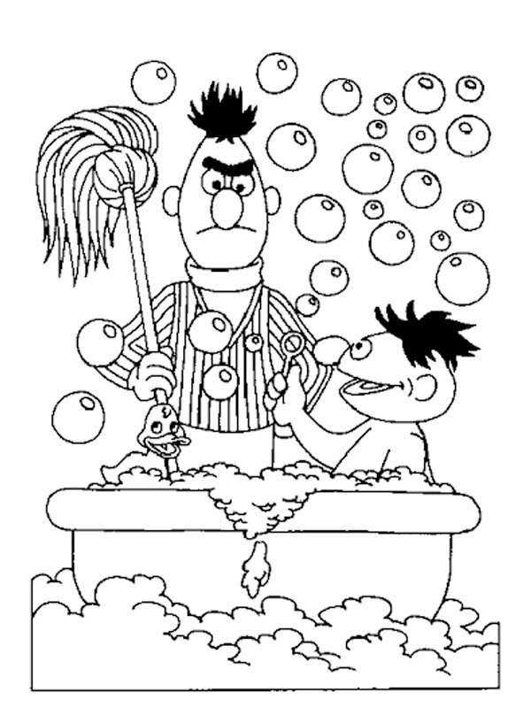 coloring page Ernie in bath