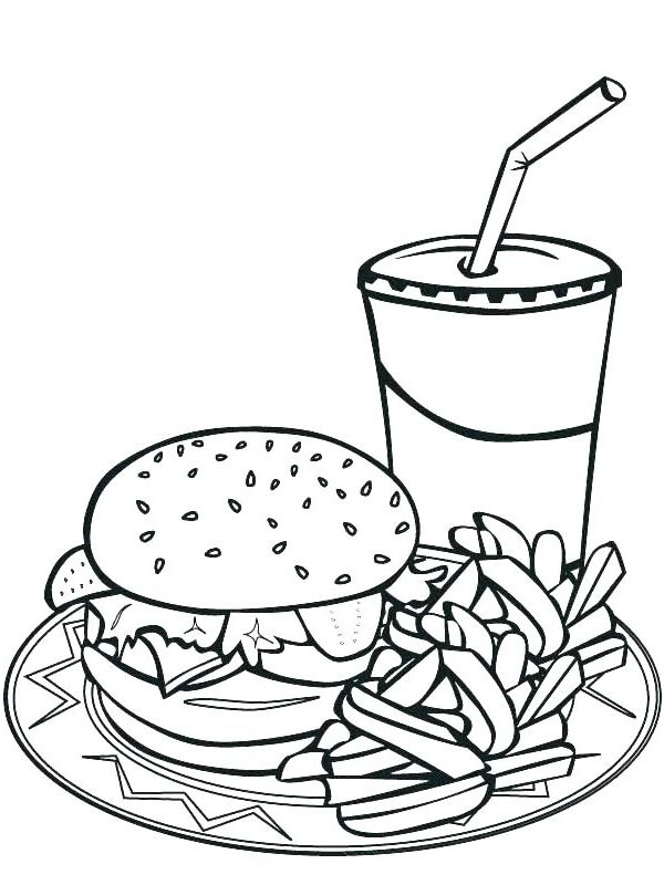 coloring page Fast Food Meal