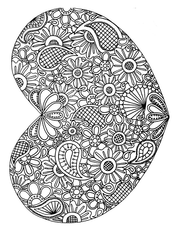 coloring page Heart mandala for adults