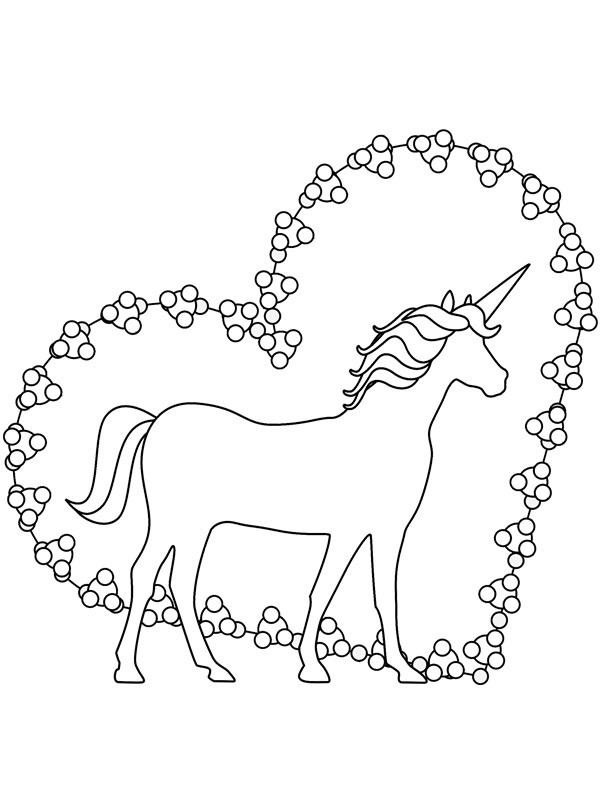 coloring page Unicorn heart