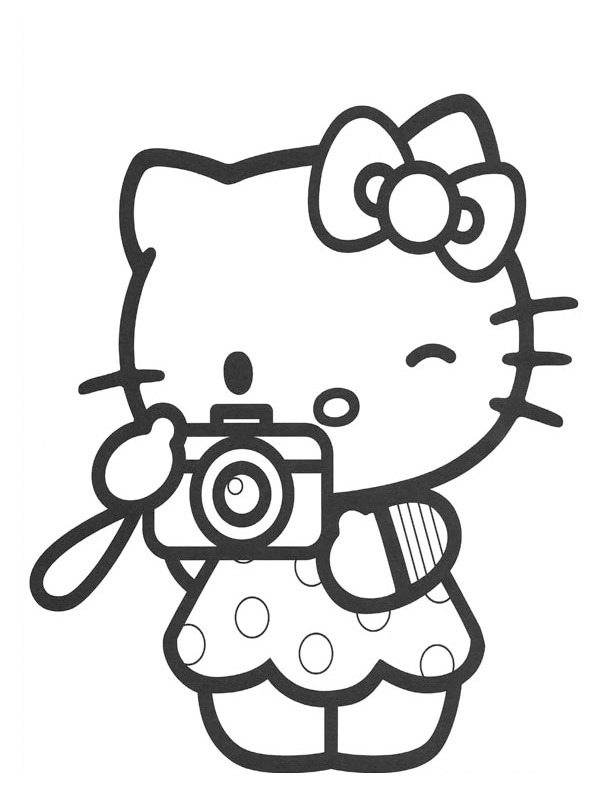 coloring page Hello Kitty taking a picture
