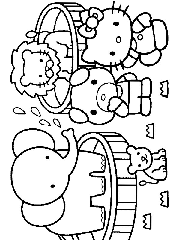 coloring page Hello Kitty in the Zoo