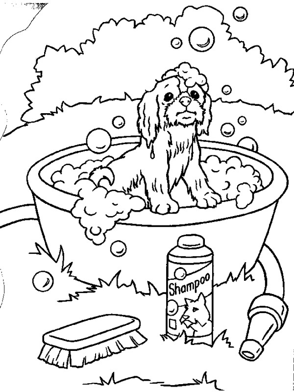 coloring page Dog in the tub