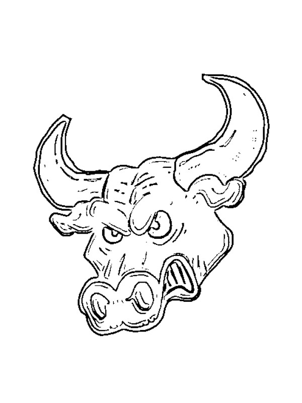 coloring page Angry bull head