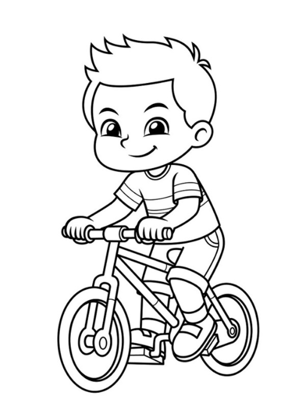 coloring page Boy on the bicycle