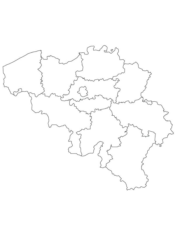 coloring page Map of Belgium
