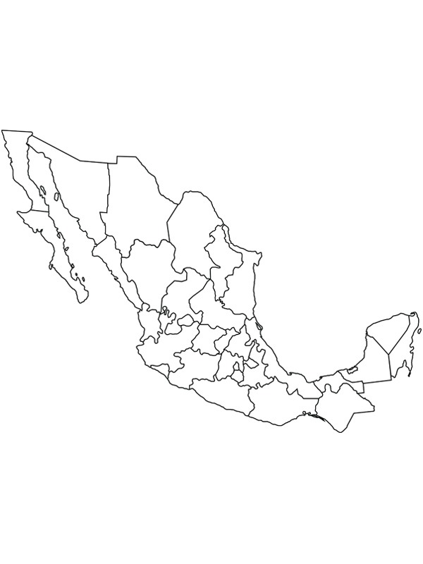 coloring page Map of mexico