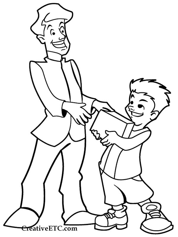 coloring page Present for fathersday