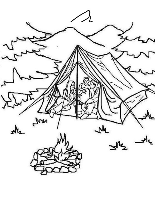 coloring page camping in a tent