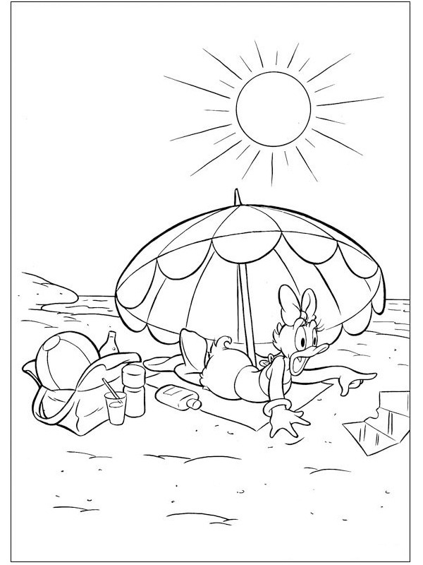 coloring page Daisy Duck At The Beach