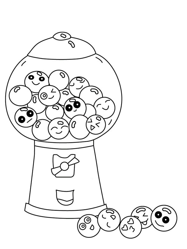 coloring page Chewing gum machine