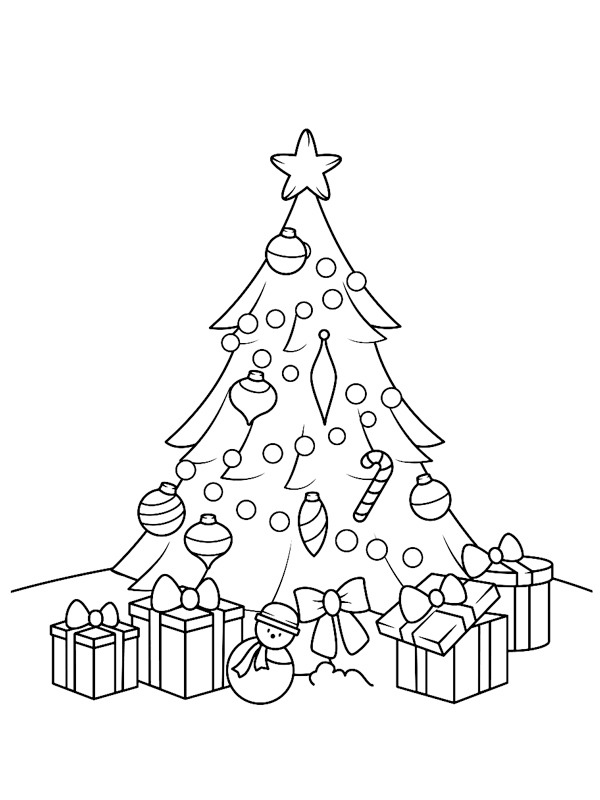 coloring page Christmas tree with presents