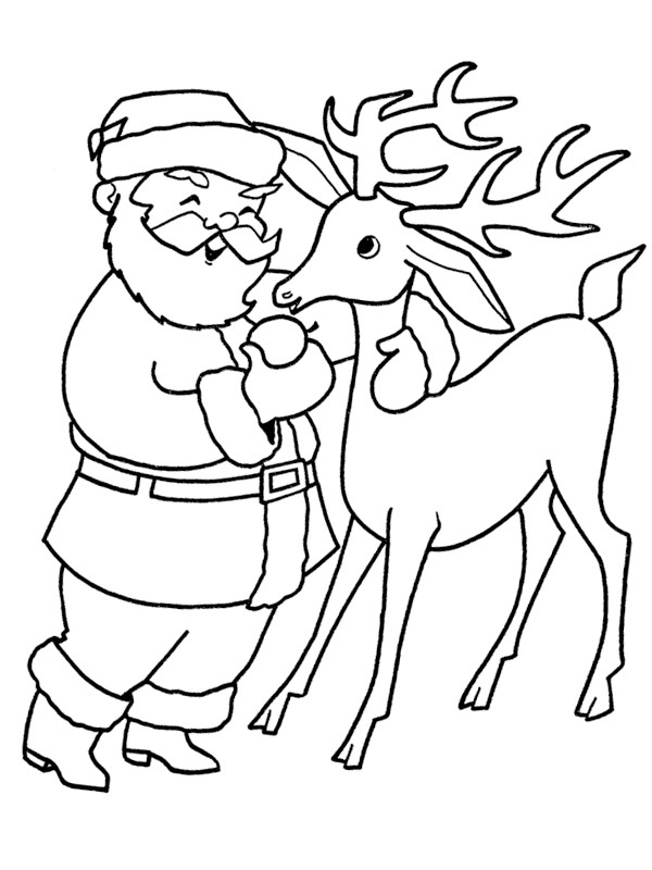 coloring page Santa's with one of his Reindeer