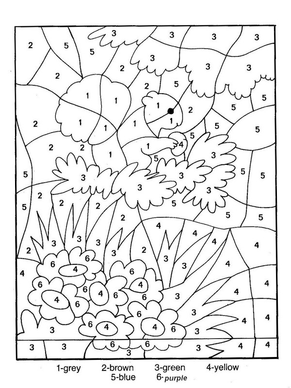 coloring page Fall color the numbers