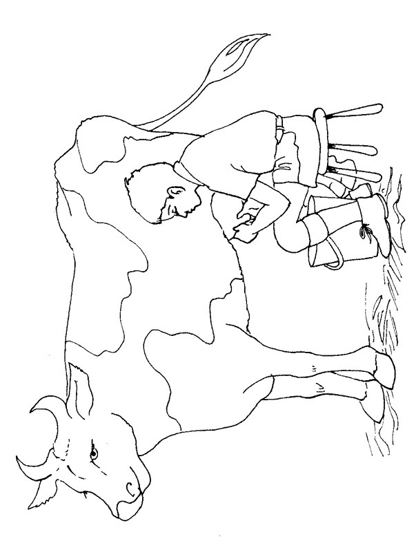 coloring page Milking a cow