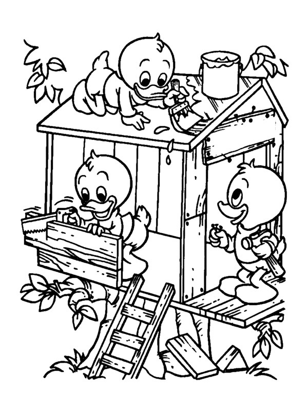 coloring page Huey Dewey and Louie build treehouse