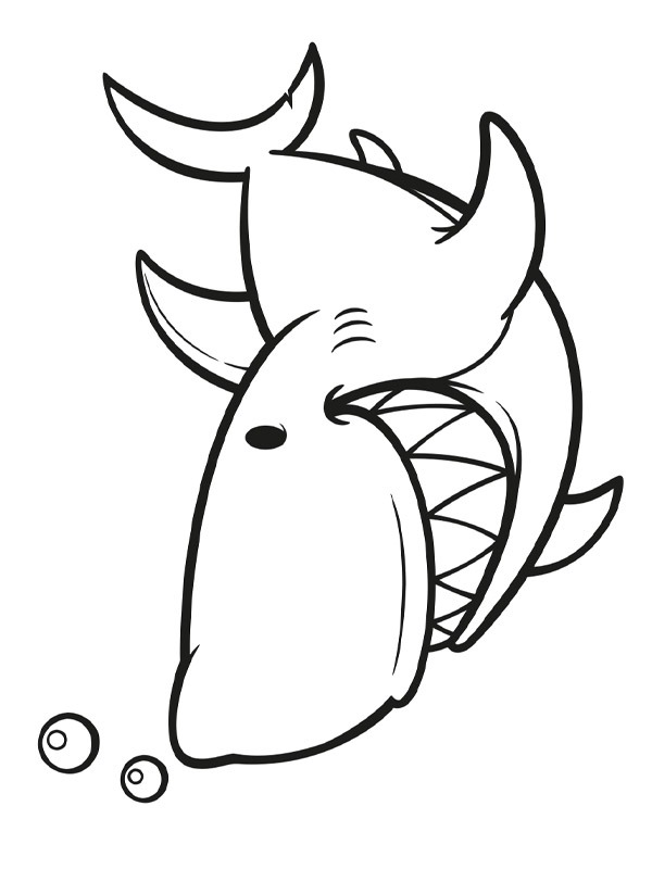 coloring page Laughing shark