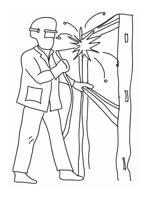 coloring page welder