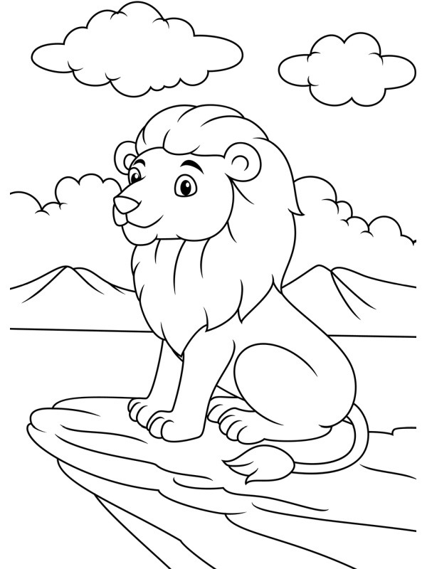 coloring page Lion on the rock