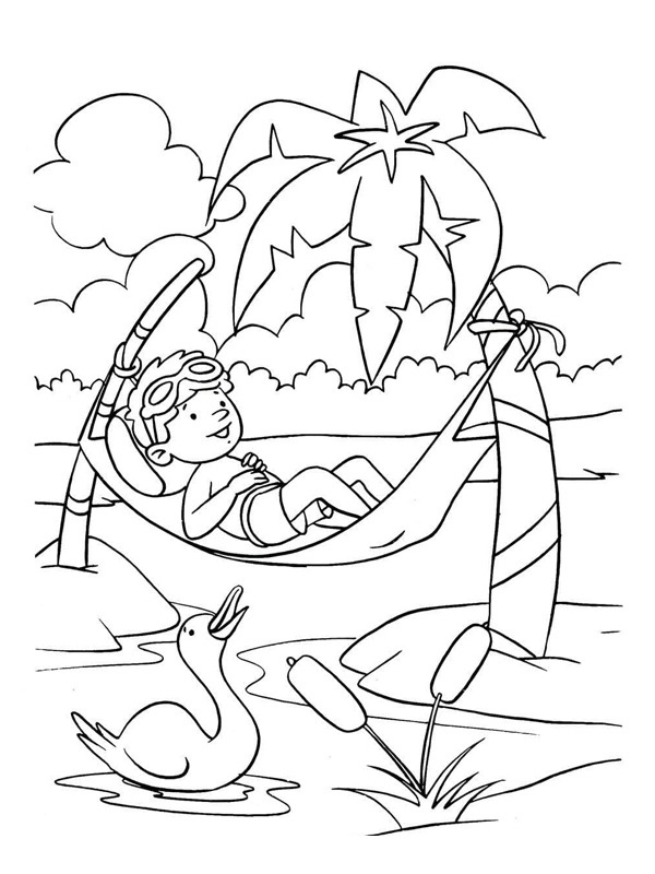 coloring page Lying in a Hammock