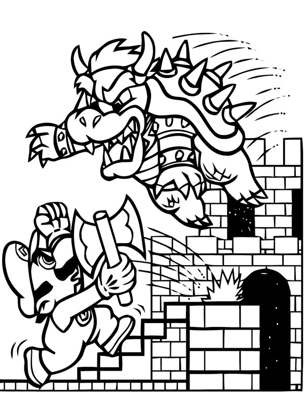 coloring page Mario and the enemy