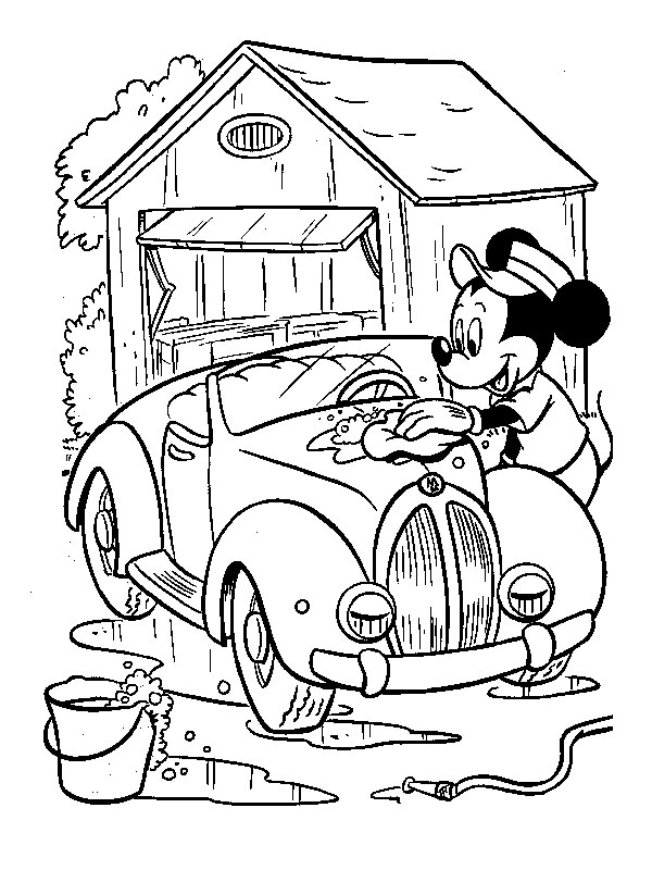 coloring page Mickey Mouse cleaning a car