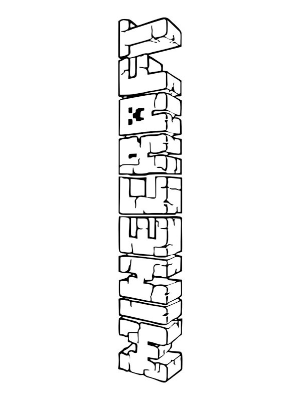 coloring page minecraft logo